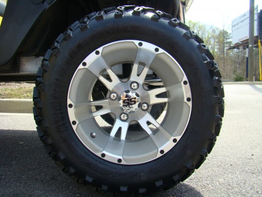 12 Inch Yellow Jacket Brushed and Silver Wheel and All Terrain Tire Combo