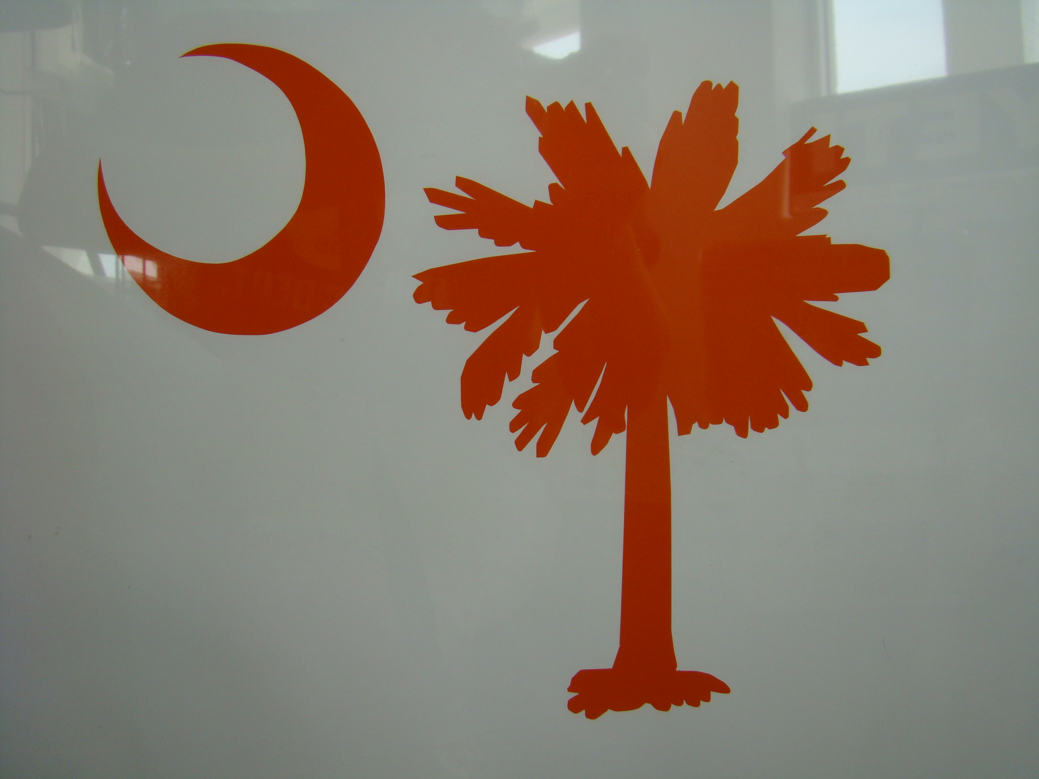 Palmetto Tree and Moon Vinyl Decal Orange