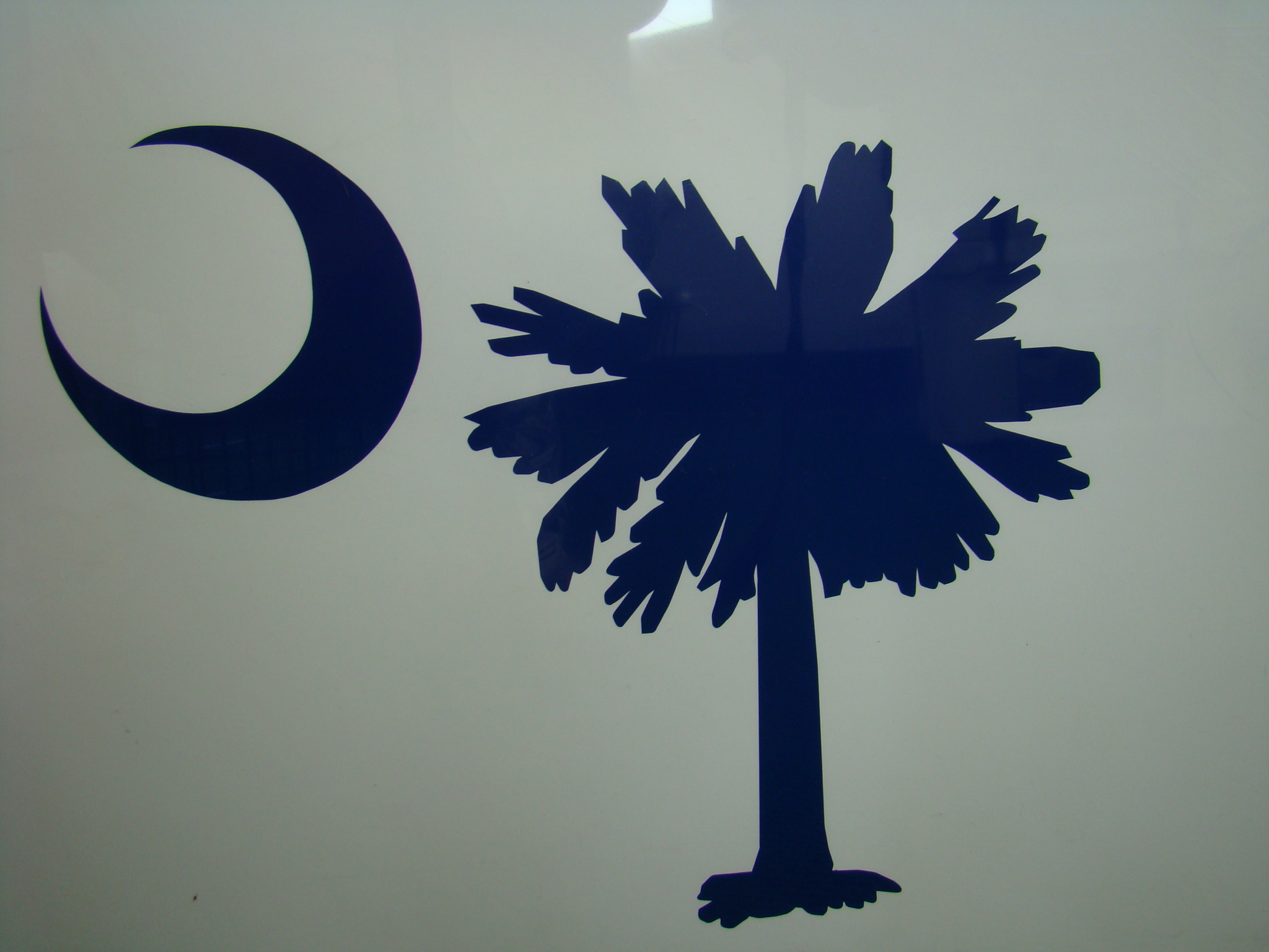 Palmetto Tree and Moon Vinyl Decal Blue