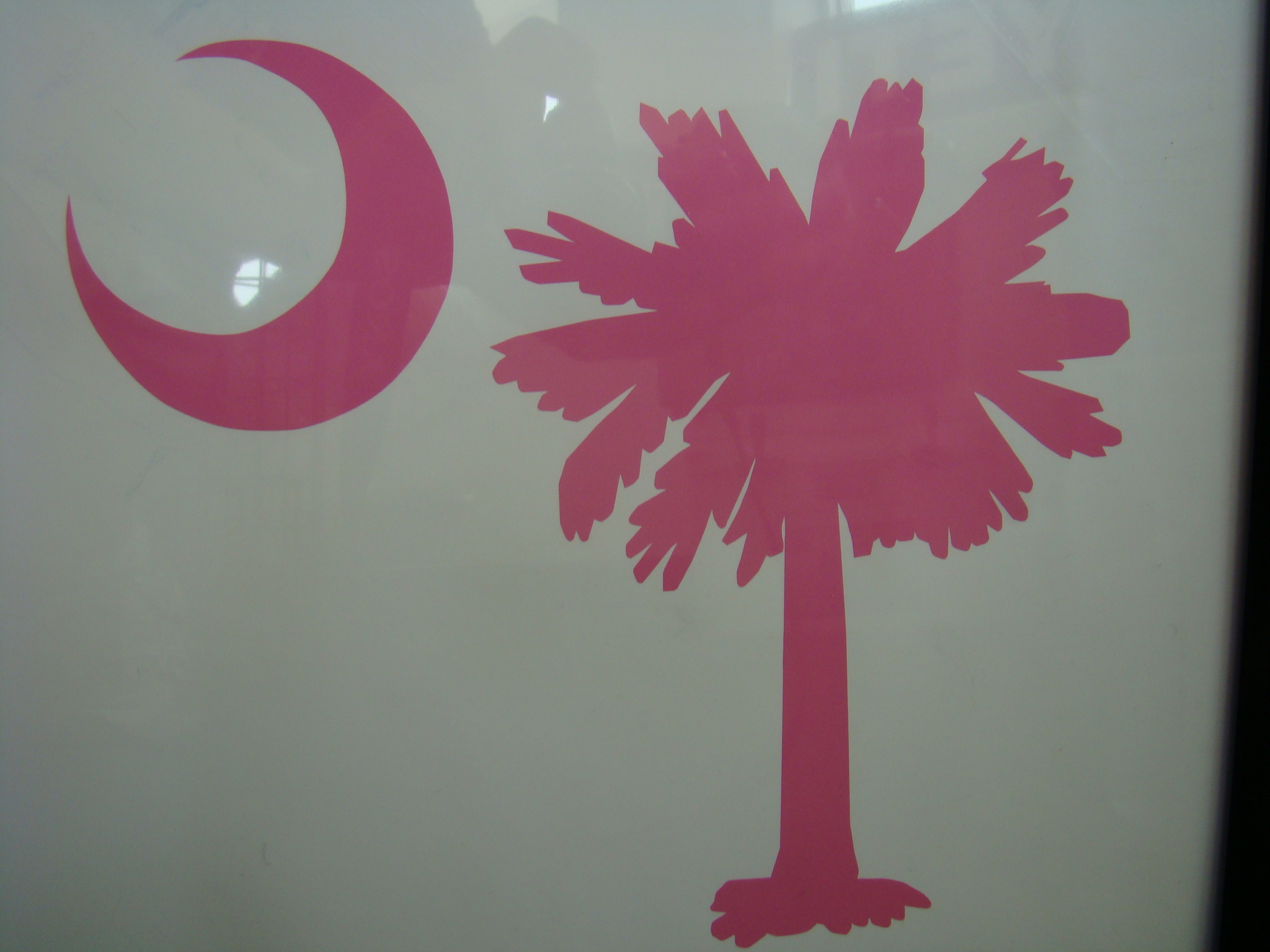 Palmetto Tree and Moon Vinyl Decal Pink