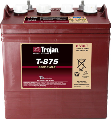 Golf Cart Battery  Trojan T-875 8-volt