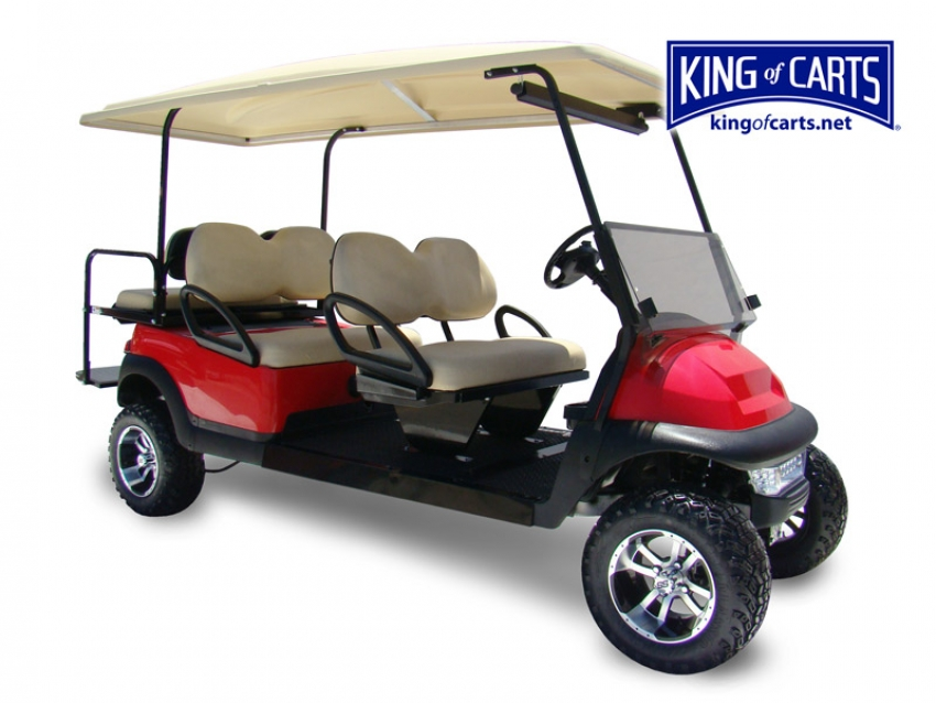 LIMO - Lifted - Red 6 Passenger Golf Cart
